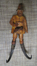 BLACK FOREST CARVED WOOD HUNTER with HAT COAT HOOK CHAMOIS HORNS