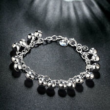 HOT Women 925 Silver Plated Alloy Jingle Balls Charm Chain Bracelet Jeweley US