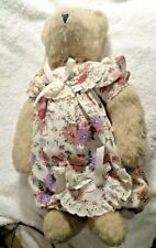 Vintage Vermont Teddy Bear Floral & Lace Dress Jointed 13 Inch