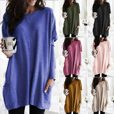 Women Long Sleeve Crew Neck T-shirt Loose Casual Pocket Tunic Fall Solid Tops