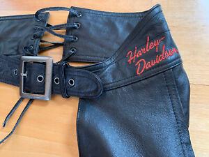 Women's Harley Davidson Black Leather Chaps XS Orange Embroidery