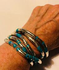 """Fabulous Articulated Bendable Silver/Blue or Pink Snake Bracelet/Necklace 35"""""""