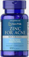 Puritan's Pride Vitamins Zinc for Acne 100 Tablets