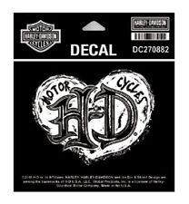 Harley Davidson ® Grunge Corazón Negro y Blanco Decal Sticker DC270882 Nuevo Original