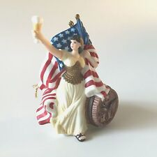 Anheuser Busch 1992 Holiday Collector Ornament Figurine Beer Barrel Lady Flag