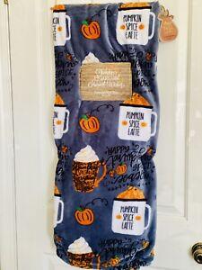 Fall Pumpkin Spice Latte Decor Pumpkin Throw Plush Blanket 60 X 70 NWT Plush