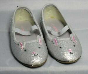 Carters Toddler Girl Shoes, Silver Bunnies, Size 7