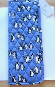 Vera Bradley Curling & Flat Iron Cover- PLAYFUL PENGUINS quilted blue background