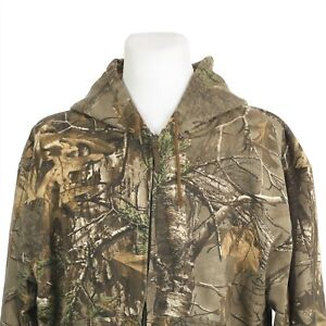 Cabelas Realtree Camo Full Zip Hoodie Storm Cotton Sweatshirt Mens XL