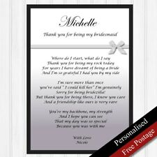 Bridesmaid Gift. Personalised Thank You Gift for Bridesmaid. Poem PRINT ONLY