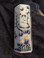 Asian Blue Floral Design Bud Vase