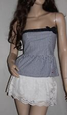 NWT! HOLLISTER by Abercrombie Womens Bustier Strapless Tube Top Navy White S