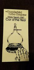 Thunderbird Turbo Coupe Motor Trend Car of the Year 1987 decal Ford thunder bird