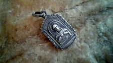 """ANTIQUE MARKED SILVER """"875"""" CATHOLIC SCAPULAR MEDAL """"OUR LADY of MOUNT CARMEL"""""""