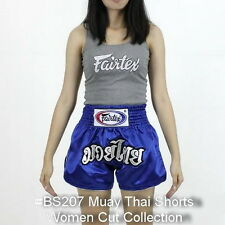 Fairtex Muay Thai Kick Boxing Satin Shorts Women Cut Bs0207 Blue Thai Font