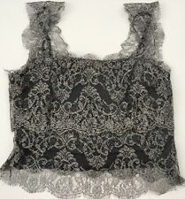 RALPH LAUREN Black Label Crop Lace Top Sz L~Silver Gunmetal