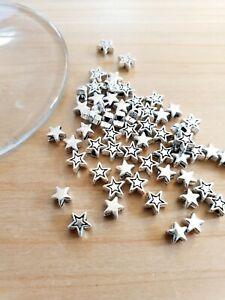 Sterne Perlenset zum Basteln/Schmuckherstellung 50 x Beads Spacer Deko Silber