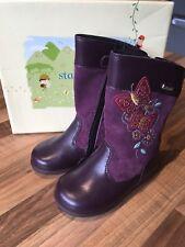BNIB Start-rite 'Aqua - Flutter' Purple Leather Gitls Boots Infant Size 5F / 22