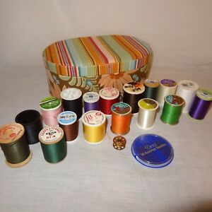 Sewing Box Mixed Lot 17 Thread Spools Different Colors Needles Bobbin