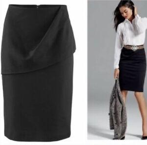 Cabi Womens Sz 8 Pencil Skirt Overlay 3099 Career Stretch Knit Black
