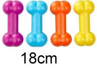 New 18cm 2x Pet Puppy Dog Super Tuff Bone Shape Toy Pet Rubber Toy Chew Dog Toy