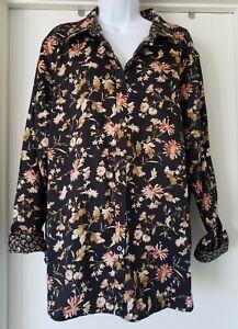 CHAPS Blouse Shirt Size 2X No Iron Black Floral Button Front Long Sleeve