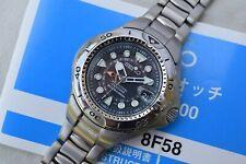 Serviced Seiko Pipin 8F58-0020 Titanium HAQ Perpetual GMT Dive Watch SBCJ003
