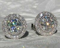 3.20Ct Round Attractive Cut Moissanite Halo Stud Earrings 14K White Gold Finish