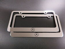2 Brand New MercedesLOGO chromed METAL license plate frame +screw caps