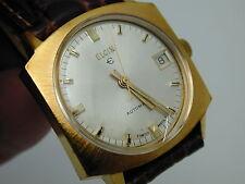 VINTAGE 1960S MANS ELGIN AUTOMATIC SLOW SET DATE WRIST WATCH GOLD TONE