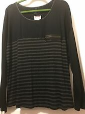Drop Shoulder Long Sleeve Striped Shirt XL, Mixed Media Faux Leather by YUNI