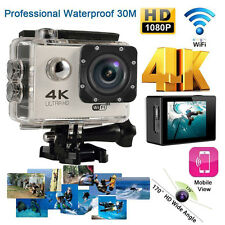 4K WIFI Waterproof Sports Action Camera HD 1080P DV DVR Camcorder Silver Helmet