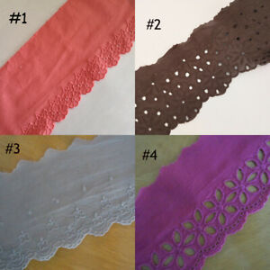 "3.5"" - 4.5"" wide Eyelet Cotton Blend Lace with Embroidered Flower Trim zhb27"