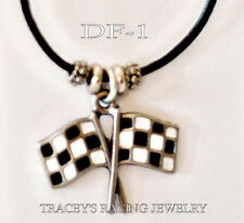 Checkered flag charm necklace auto Tracey's racing jewelry DF-1