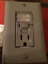 Pass & Seymour PLUGTAIL GFCI Nightlight Outlet Gray 15 Amp PT1595-NTLGRY
