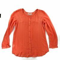 Ann Taylor LOFT Womens Blouse Orange Long Sleeve Scoop Neck Buttons Top S