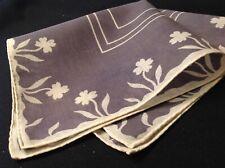 #5593🌟Vintage 30s Cutter Floral Geometric Smoky Gray Clover Pocket Handkerchief