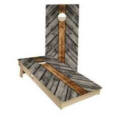 Grey Wood Lines Cornhole Boards - 2 Sizes + Many Options Available