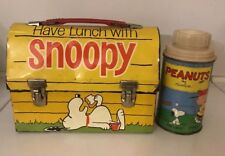 1968 Snoopy Peanuts Metal Lunch Box Dog House Lunchbox w Peanuts Thermos Vintage