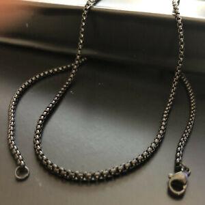 Collana uomo acciaio nero catenina catena lunga 60 cm x 2,5 mm girocollo inox