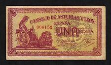 F.C   NUMERO BAJO , ASTURIAS Y LEON  1 PESETA  1936 , MBC- .