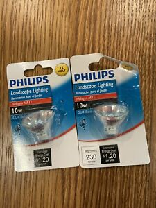 Lot of 2 Philips 20W Halogen MR16 GU5.3 Base 12VDC Landscaping Light Bulbs