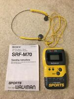 Vintage Sony Walkman SRF-M70 Sports AM FM Radio Headphones Manual Tested Working