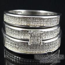 Real Diamond Mens Ladies Bride Groom Wedding Engagement Ring Trio Set 1/2 Carat
