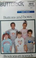 Butterick 5912 Sewing Pattern Buttons & Bows Chid's Top & Pants Uncut 4-6X