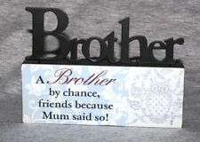 Inspirational Brother Bro Sibling Family Love Desk Sign Plaque Ornament A