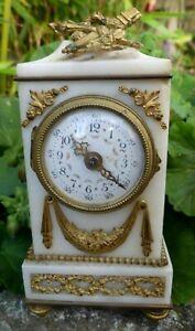 Pendulette de Voyage Pendulette d'Officier 16cm style Louis XVI Marbre Bronze