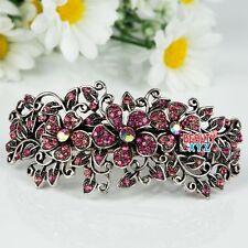 Woman's new flowers design silver plated metal rhinestone hair clip Barrette