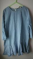 Zara Poplin Blue And White Stripe Dropped Hem 3/4 Sleeve Dress M