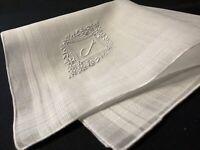 "#6675🌟Antique c1910s Appenzell Monogram ""J"" Wedding Linen Handkerchief"